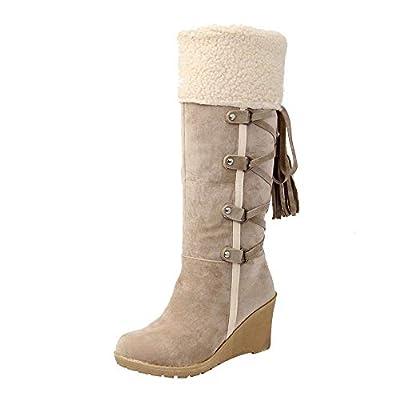 MYMYG Warmer Stiefel Schneestiefel Boots Kunstpelz Flache Booties Schnalle Lace Up Schuhe Schnür Stiefel Runde Zehe Schuhe Winterstiefel Einfarbig Warme Lederstiefel Winter Schnürstiefel Boots