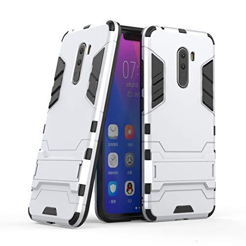 SANHENGMIAO COVER Für Xiaomi Handy Doppeldecker-Panzerabwehrschutz gegen Erdbebenschutz, geeignet für Hirse Pocophone F1 / Poco F1 (Farbe : Silber)