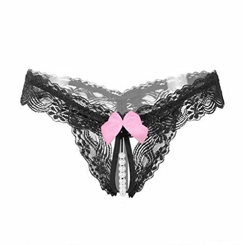feiXIANG Mode Damen Lace Open Crotch Thong Mesh Pearl Massage Lady Temptation Pants Tanga (Freie Größe, T/Schwarz) -