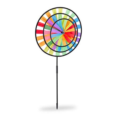 Relaxdays Windrad, Gartenstecker im Regenbogen Design, Kinder, für Balkon oder Terrasse, HBT: 73,5 x 35,5 x 15 cm, bunt