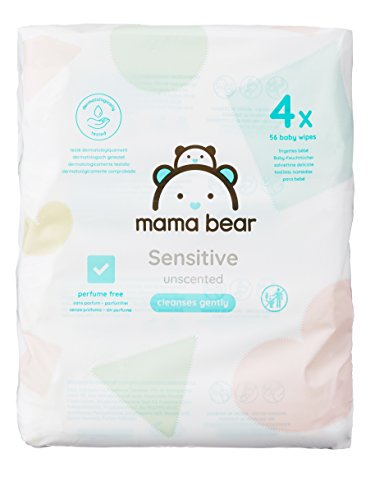 Amazon Brand –  Mama Bear Sensitive Baby Wipes– Pack of 4 (Total 224 wipes) 41vVQgLe7mL