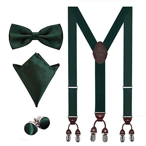 Aissy Hosenträger für Herren 3.5cm Y-Form Elastisch und Längenverstellbar Hosenträger Breit mit 6 starken Clips und Fliege & Einsteckuch,Grün -
