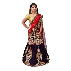 Indianboutique Women's Silk Floral Print Lehenga (222067$I1, Orange, Violet, Free Size)