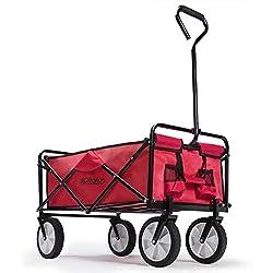 Deuba Bollerwagen Faltbar Handwagen Gerätenwagen | bis 100kg | Rot | Vollgummireifen | Leichter und Schneller Aufbau