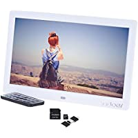 Andoer Cadre Photo Numérique 10 pouces avec 8GB carte de mémoire, cadre photo digital 1024*600 comme MP3 MP4 avec télécommande (Blanc)