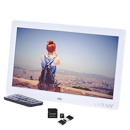 Andoer - Marco de fotos digital con pantalla LCD (10 pulgadas) de alta resolución (1 024 × 600), funciones reloj y vídeo MP3/ MP4, mando a distancia, tarjeta de memoria 8 GB (clase 10), lector de tarjetas y adaptador (1 #)