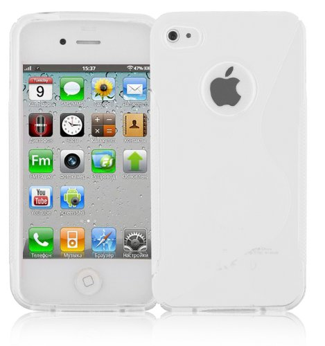 Preisvergleich Produktbild Cadorabo Hülle für Apple iPhone 4 / iPhone 4S - Hülle in HALB TRANSPARENT – Handyhülle aus flexiblem TPU Silikon im S-Line Design - Silikonhülle Schutzhülle Soft Back Cover Case Bumper