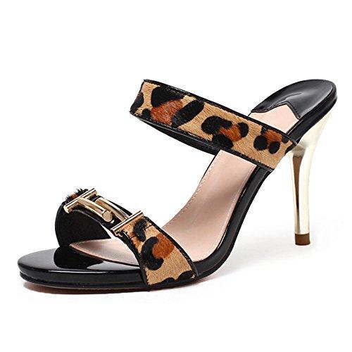 ZHANGRONG-- Pantoufles de dames d'été Porter des pantoufles à talons hauts Chaussures exposées à la mode fines avec des pantoufles sexy Chaussons de refroidissement extérieurs (2 couleurs en option) ( B