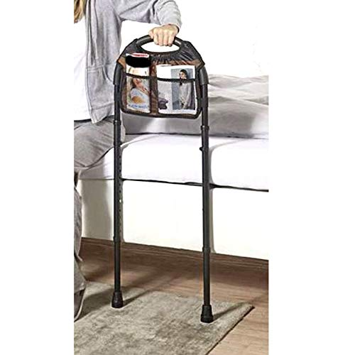 Bett Aufstehhilfe bis 120 kg | Sicherheitsgriff Höhenverstellbar | Haltegriff Inkl. Aufbewahrungstasche | Haltestange Schlafzimmer Stützhilfe Schwarz
