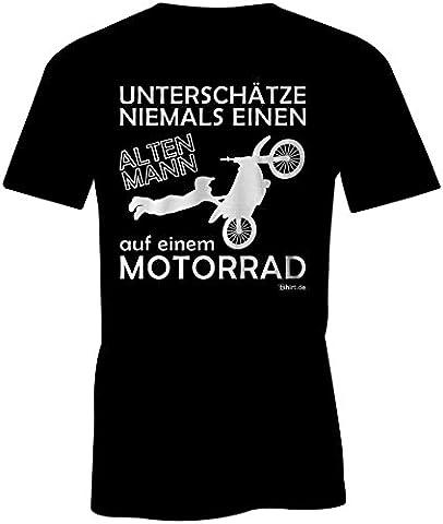 Unterschatze Niemals Einen Alten Mann Auf Einem Motorrad ★ Rundhals-T-Shirt