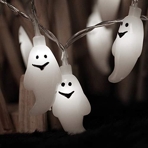 INHDBOX Halloween Lichterkette 30 LEDs Schnurlicht Batterie Betrieben Geister Licht für Außen Weihnachten Halloween Party Park Fest Deko (KaltesWeiß) -
