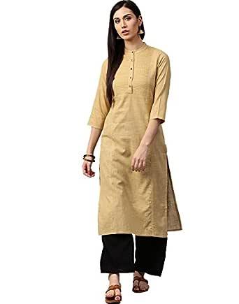 Jaipur Kurti Women's Straight Kurta (JKPLZ2910-S_Black)