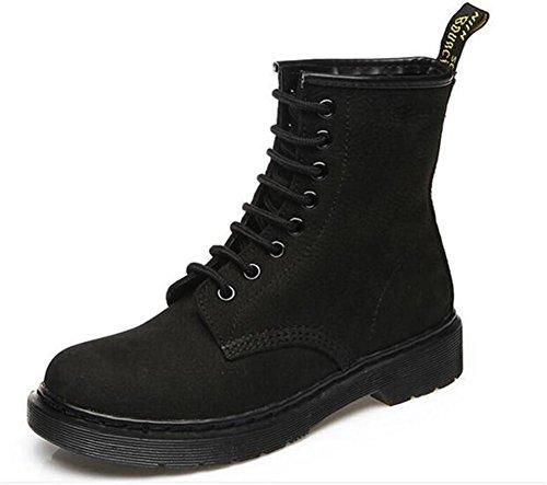 Zapatos De Mujer De Invierno De Cuero Con Cordones Casuales Martin Boots Size36to43 Negro