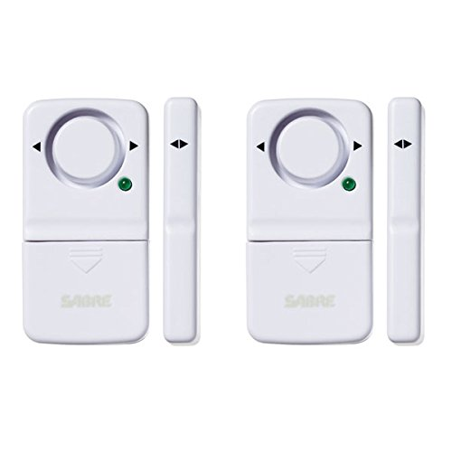 Sabre  Wireless Home Security Door Window Burglar Alarm with LOUD 120 dB Siren - DIY EASY to Install (2 Pack)