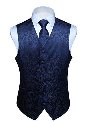Hisdern Manner Paisley Floral Jacquard Weste & Krawatte und Einstecktuch Weste Anzug Set, Navy Blau, Gr.-L (Brust 46 Zoll)