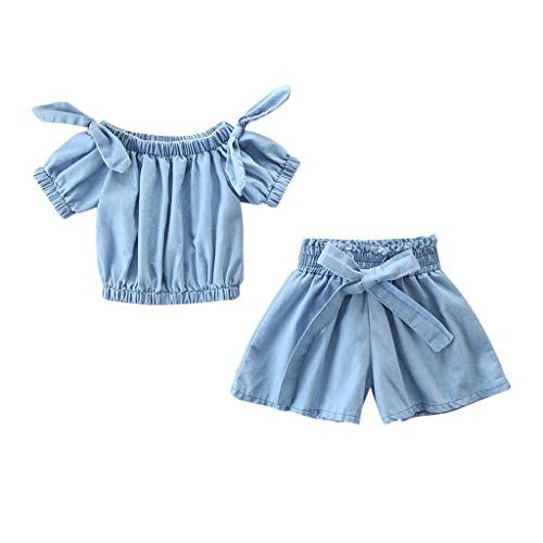 Baby Body Kinderkleidung Jungen Mädchen, YanHoo Kleinkind Kinder Baby Mädchen Outfits Kleidung Denim Schulterfreies Hemd Tops + Shorts Mädchen Denim Schulter 2 Stück (Weihnachten Kleinkinder Anzüge Für)