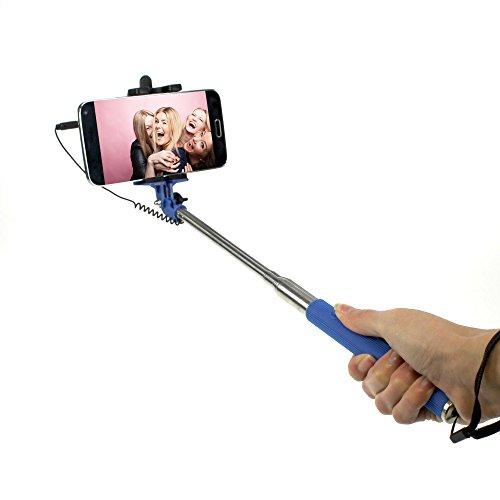 STYLETEC ausziehbare Selfie Stange / Stick / Stab mit Handschlaufe | Selfiestick | Selfiestab | Selfiestange - Kabelsteuerung (blau)