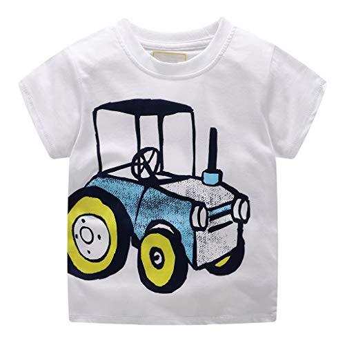 HEETEY Kleinkind scherzt Baby-Jungen-Kleidung Kurzarm-Cartoon-Muster übersteigt T-Shirt Bluse Rundhals Mode Cartoon Bagger Stickerei T-Shirt