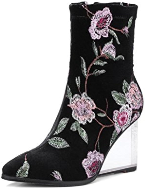 QPYC Ms punta cerniera laterale lussuoso ricamo stivali femminili tacco di cristallo nel tubo stivali pendio folk-custom... | Alta Qualità  | Uomini/Donne Scarpa