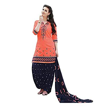 Nivah Fashion Women's Pure Cotton Embroidery Patiyala Salwar Suit (Free Size_Un-Stich) G16-Pink