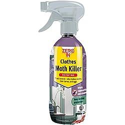 Zero In - Spray antipolillas (Base acuosa, sin disolventes, Tratamiento de Superficie para el hogar, actúa contra polillas, Larvas y Huevos), 500ml, Transparente