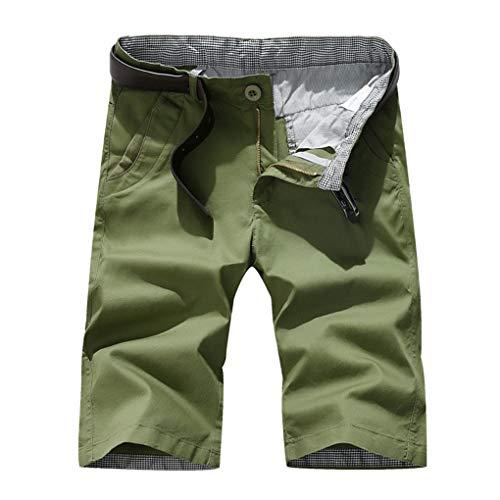 Große Größe Gerade Shorts für Herren/Skxinn Männer Sommer Kurze Hose Übung Overalls Freizeithosen Casual Sport Slim Fit Hosen Regular Fit S-7XL Ausverkauf(Grün,Small)