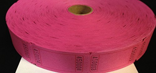 2000 Blank Hot Pink Single Roll Consecutively Numbered Raffle Tickets by 50/50 Raffle Tickets (Single Roll Tickets)