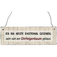 Holzschild Shabby ICH BIN HEUTE EMOTIONAL GESEHEN Lustig Ohrfeigenbaum Spruch