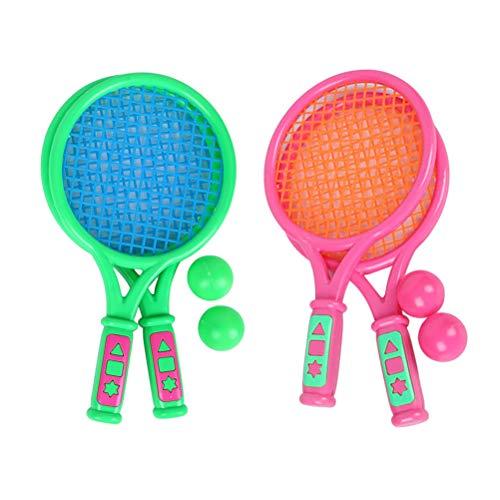 BESPORTBLE 2 Sätze Tennisschläger Paddel Bälle Sommer Sport Beach Paddle Bälle Kit für Kinder Jungen Gilrs - Pink + Grün