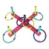 Symiu Juegos Jardin Ring Toss Set Lanzamiento de Anillos Deporte Niño Juguete de Exterior o Interior, Colores Esponja Anillos para Niños y Adultos