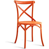 CKH Silla de Comedor Estadounidense Silla de Escritorio para Adultos Silla de plástico Creativa Simple Silla de Ocio para el hogar Silla de Noche Taburete Naranja
