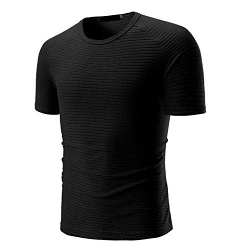 Preisvergleich Produktbild ASHOP Herren Einfarbige Rundhalsausschnitt Kurzarm Fitness T-Shirt Größen M-3XL (XL,  Schwarz)