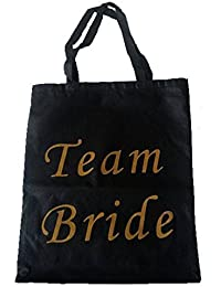 Blue Planet Team Bride Tote Bag - Black with Gold Writing Hen Party
