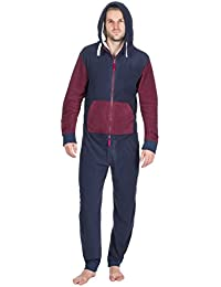 b77e92e4ce ONEZEE Adult Men s Contrast Jumpsuit - Sherpa Fleece Lined Hooded Sleepsuit