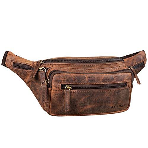 STILORD 'Zion' Vintage Riñonera Cuero para Fiestas Viajes Festivales Deporte Bolso Cintura Vacaciones Senderismo de Auténtica Piel, Color:Sepia - marrón
