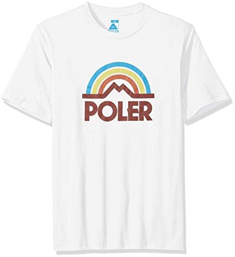 POLER Herren T-Shirt Mountain Rainbow, White FA16 (roter Schriftzug), L -