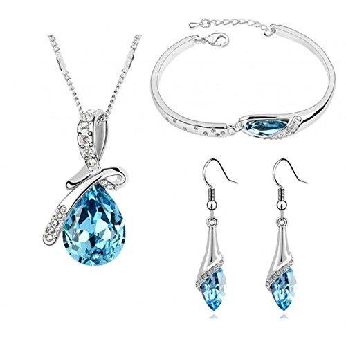 Parure avec bracelet cristal swarovski elements plaqué or blanc Couleur Bleu turquoise