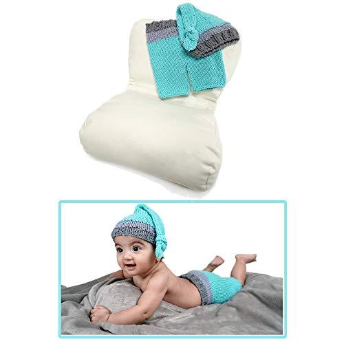 Fotografie-Requisiten-Set für Neugeborene - Schmetterling Posing Kissen - Baby Boy Kostüm Outfit für Fotos und Bilder - Blau und Grau Häkelhose und Hut - für Fotografen und DIY-Mütter und Väter