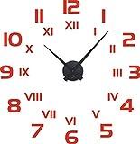 GRAZDesign 800260_BK_034 Wandtattoo Wanduhr mit Uhrwerk für Wohnzimmer Römische Zahlen Ziffern Zeit (59x57cm//034 Orange//Uhrwerk Schwarz)