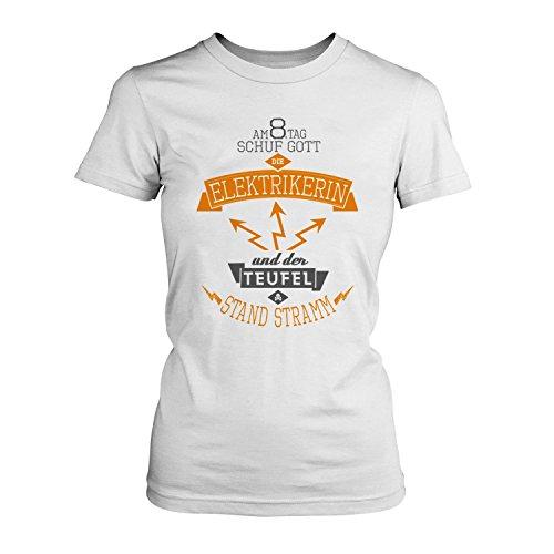 8. Tag Schuf Gott Den T-shirts (Fashionalarm Damen T-Shirt - Am 8. Tag schuf Gott die Elektrikerin   Fun Shirt mit Spruch als Geschenk Idee für Job Arbeit Beruf Elektroinstallateurin, Farbe:weiß;Größe:3XL)