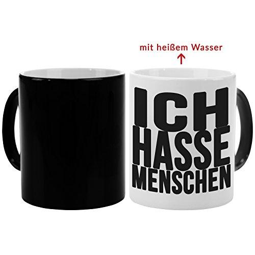 Tasse – Ich Hasse Menschen (Schwarz): lustige Kaffeetasse mit Spruch – Farbwechseltasse mit...
