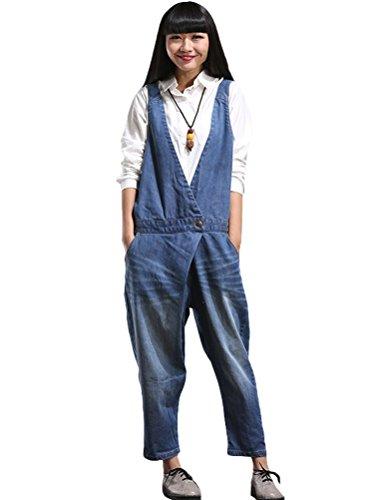 Voguees Damen Breite Beine Hosen Loose Fit Denim Jumpsuit Art 4 Blau