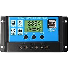 Nuzamas Régulateur de charge de panneau solaire PWM, 12 V 24 V, 30 d7cf23bf9ada