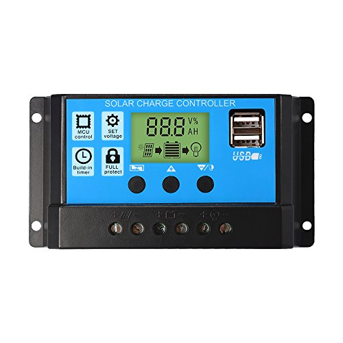 30A Charge Controller Solar LCD Display Charge Regulator Intelligent Dual USB Port Charger 12V-24V -