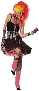 California Costumes Women's 80's Party Girl Costume,Black/Pink/White,Small/Medium