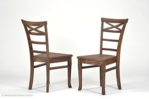 Naturholzmöbel Seidel 2er- Set Esszimmerstuhl,Rio Bonito, Massivholz Pinie, Stuhl in Cognac braun geölt und gewachst, Versand komplett montiert