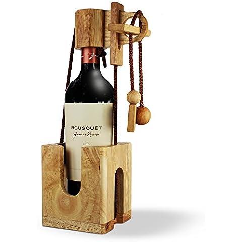 Puzzle botella de madera fina y clara – Caja regalo para botellas de vino - versión standard – Juego de