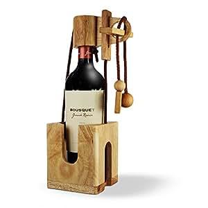 flaschen puzzle aus hellem edelholz geschenk verpackung f r weinflaschen geduldspiel. Black Bedroom Furniture Sets. Home Design Ideas