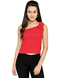 Chimpaaanzee Women One sided Bow Red Top