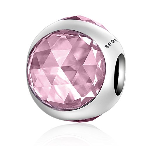 Radiant droplet cristalli rosa a forma di cuore, in argento sterling 925ciondoli pandora e altri braccialetti europei